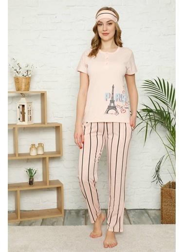 Akbeniz Kadın %100 Pamuk Penye Kısa Kol Pijama Takım 3360 Somon